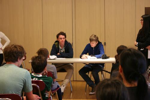 Alumni Harold and James answered students' questions about the high school experience, May 2017